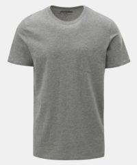 Šedé žíhané basic tričko s náprsní kapsou Jack & Jones