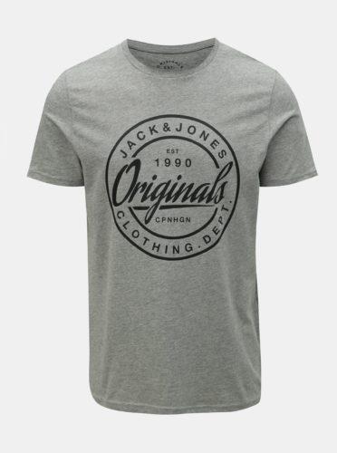 Šedé žíhané slim fit tričko s potiskem Jack & Jones Rart Tender