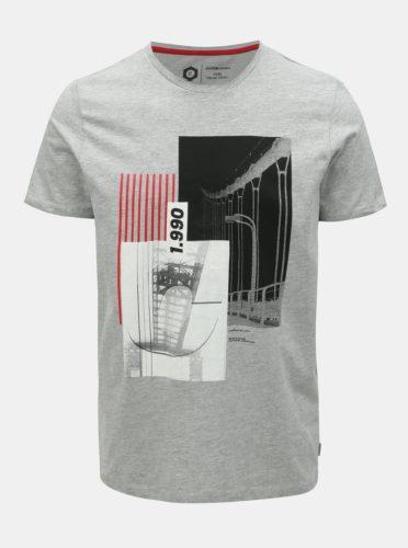 Šedé žíhané slim fit tričko s potiskem Jack & Jones Will