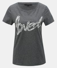 Šedé žíhané tričko s krajkovou nášivkou VERO MODA Loving