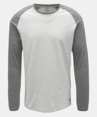 Šedo-bílé pánské basic žíhané tričko Jack & Jones