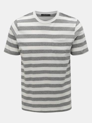 Šedo-bílé pruhované basic tričko Jack & Jones Normann