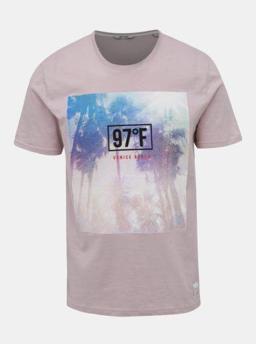Světle fialové tričko s potiskem ONLY & SONS Layrence