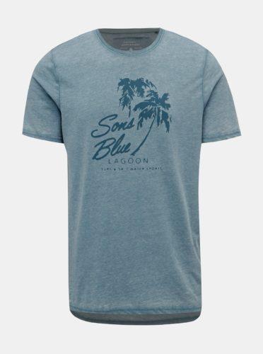 Světle modré tričko s potiskem ONLY & SONS Next Burnout