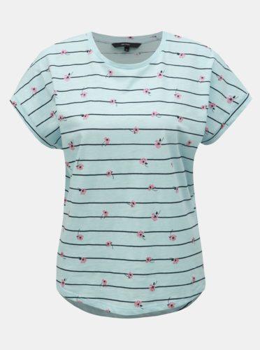 Světle modré vzorované tričko VERO MODA Sally Willow