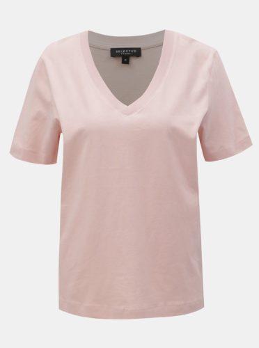 Světle růžové basic tričko Selected Femme Standard