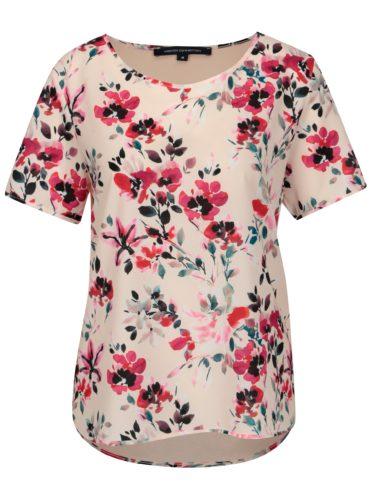 Světle růžové volné květované tričko French Connection Linosa