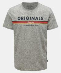 Světle šedé žíhané regular fit tričko s příměsí lnu Jack & Jones Tuco