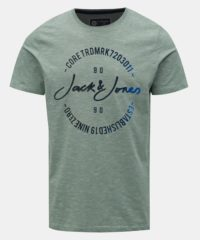Světle zelené žíhané tričko s potiskem Jack & Jones Mick