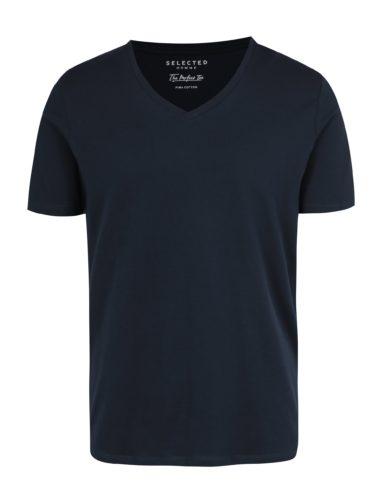 Tmavě modré basic tričko s véčkovým výstřihem Selected Homme