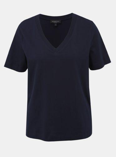 Tmavě modré basic tričko Selected Femme Standard