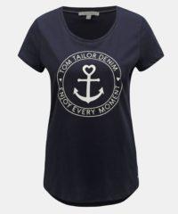 Tmavě modré dámské tričko s potiskem Tom Tailor Denim