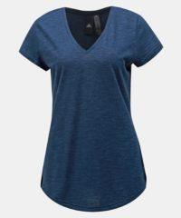 Tmavě modré dámské žíhané tričko s potiskem adidas Performance Winners