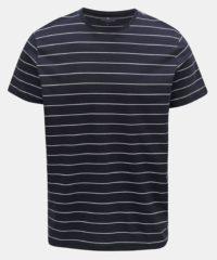 Tmavě modré pánské pruhované basic tričko Tom Tailor