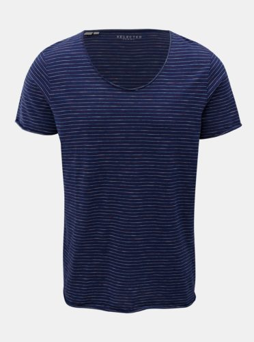 Tmavě modré pruhované basic tričko Selected Homme Merce
