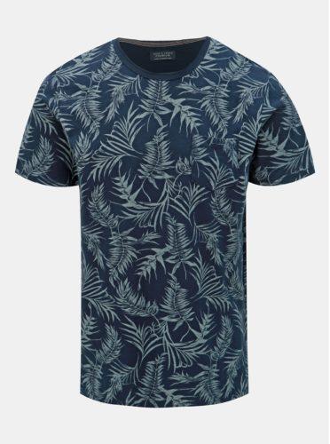 Tmavě modré vzorované slim fit tričko s kapsou Jack & Jones Sean