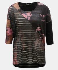 Tmavě šedé květované tričko s průsvitnými detaily Desigual Belgica