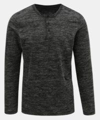 Tmavě šedé pánské žíhané basic tričko Tom Tailor Denim