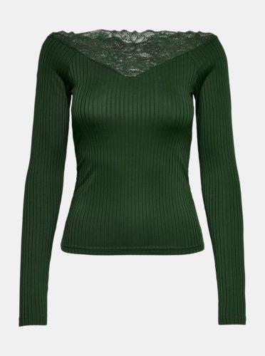 Tmavě zelené žebrované tričko s krajkovými detaily Jacqueline de Yong Rine