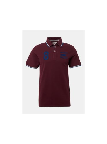 Vínové pánské polo tričko s výšivkou Tom Tailor