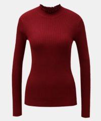 Vínové žebrované tričko se stojáčkem Jacqueline de Yong Plum
