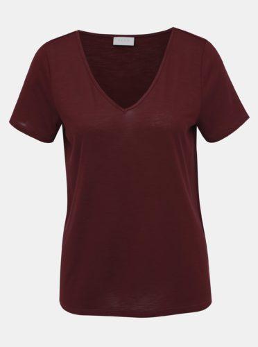 Vínové žíhané tričko VILA Noel