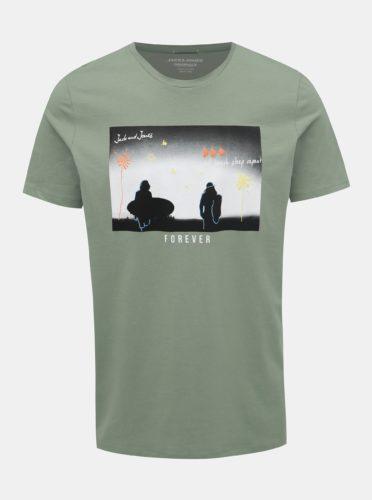 Zelené tričko s potiskem Jack & Jones Sundaze