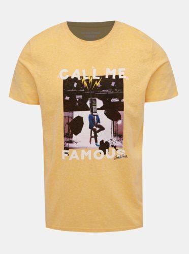 Žluté tričko s potiskem Jack & Jones Fabian