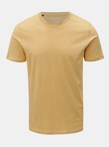 Žluté žíhané basic tričko Selected Homme Perfect
