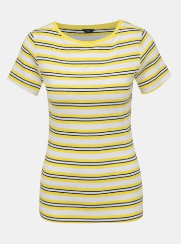 Žluto-bílé dámské pruhované tričko M&Co