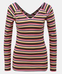 Žluto-růžové pruhované tričko s véčkovým výstřihem na zádech ONLY Fifi