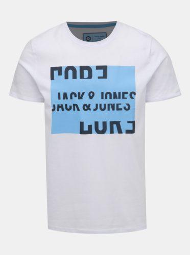 Bílé tričko s potiskem Jack & Jones Flake