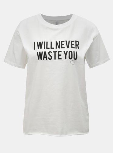 Bílé tričko s potiskem ONLY Heart