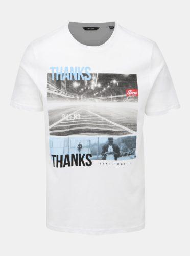 Bílé tričko s potiskem ONLY & SONS Berge