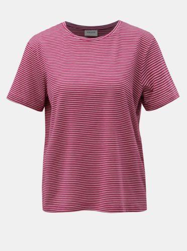 Bílo-růžové pruhované basic tričko s krátkým rukávem AWARE by VERO MODA Mava