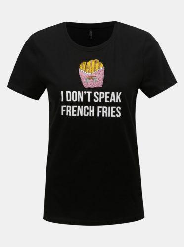 Černé tričko s potiskem a korálkovou aplikací ONLY Tally