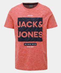 Červené žíhané slim fit tričko s potiskem Jack & Jones CORE Foni