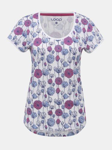 Fialovo-bílé dámské květované tričko LOAP Badsy