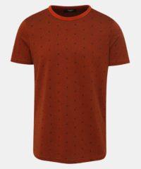 Hnědé vzorované tričko Jack & Jones Slate