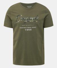 Khaki tričko Jack & Jones Camoclub