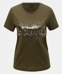 Khaki tričko s flitry a příměsí lnu ONLY Lina