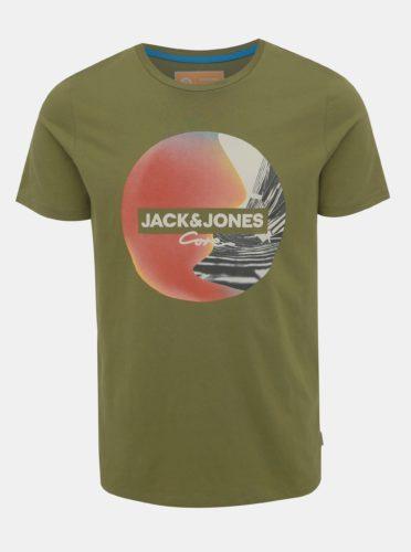 Khaki tričko s potiskem Jack & Jones Autumn