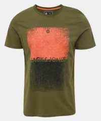Khaki tričko s potiskem Jack & Jones Sound