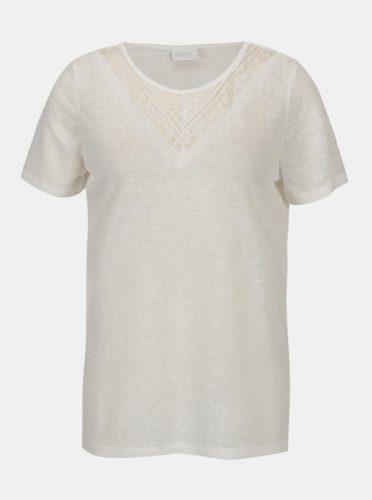 Krémové průsvitné tričko VILA Sumi