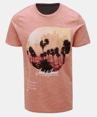 Růžové tričko s potiskem Jack & Jones Stuunt