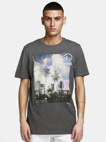 Šedé tričko s potiskem Jack & Jones Stuunt