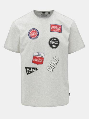 Šedé žíhané regular fit tričko s potiskem ONLY & SONS Fresh Coca Cola