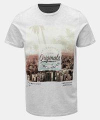 Světle šedé žíhané tričko s potiskem Jack & Jones Stuunt