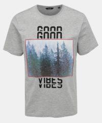 Světle šedé žíhané tričko s potiskem ONLY & SONS Bucks
