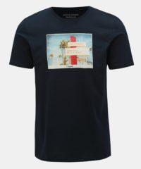 Tmavě modré tričko s potiskem Jack & Jones Hotel
